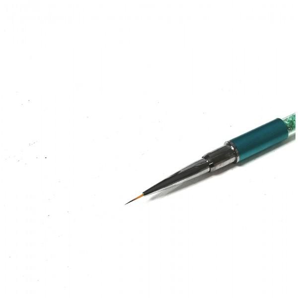 Кисть зеленая,стразы 9 мм