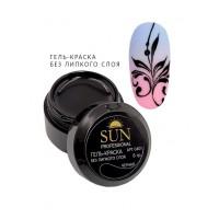 SUN Professional  Гель краска без липкого слоя ,черная 6 мл