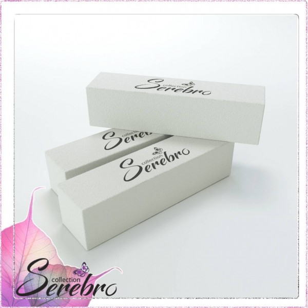 "Баф для ногтей плотный четырехсторонний ""Serebro"" (белый)"