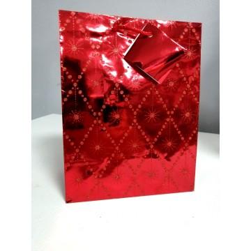 Пакет подарочный красный,блестящий