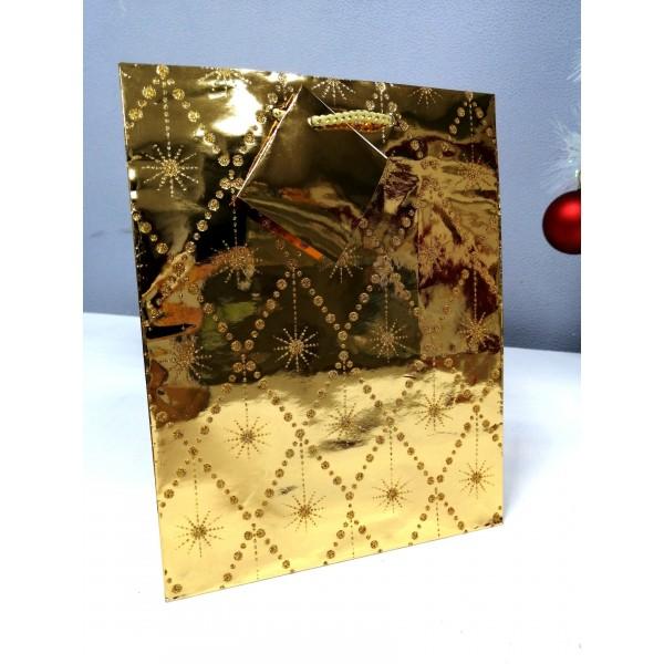 Пакет подарочный  золотой,блестящий