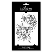 Miamitats Переводные тату Floral Skull