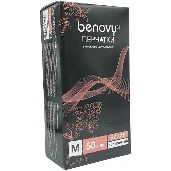 BENOVY, Перчатки виниловые, прозрачные, 50 пар, размер М