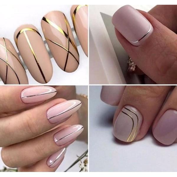 Гибкая лента для дизайна ногтей, серебро
