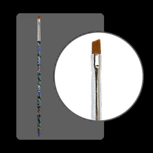 Кисть для китайской росписи с цветной ручкой скошенная № 4