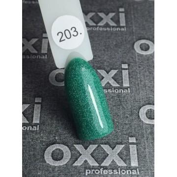 Гель лак Oxxi №203 (зеленый с мелкими насыщенными голографисечкими блестками), 8 мл